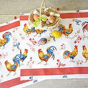 Подарки к праздникам ручной работы. Ярмарка Мастеров - ручная работа Два вафельных полотенца Петухи. Handmade.