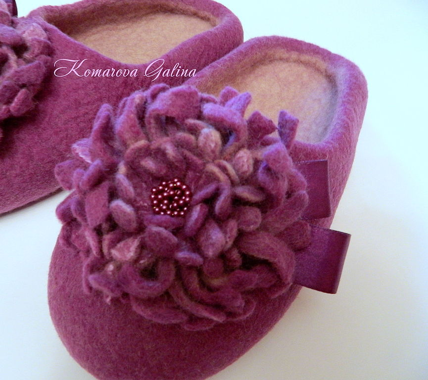 womens Slippers 'Purple orchid', Slippers, Moscow, Фото №1