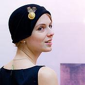 Аксессуары handmade. Livemaster - original item Hat black with feather. Handmade.