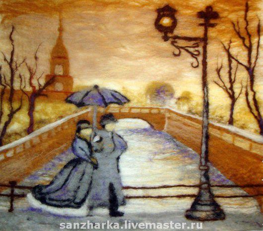 """Пейзаж ручной работы. Ярмарка Мастеров - ручная работа. Купить Картина из шерсти """"Прогулка под дождем на мостовой"""". Handmade."""
