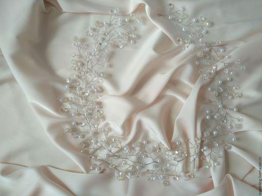 Свадебные украшения ручной работы. Ярмарка Мастеров - ручная работа. Купить Свадебное украшение для волос. Handmade. Белый, парикмахер, проволока