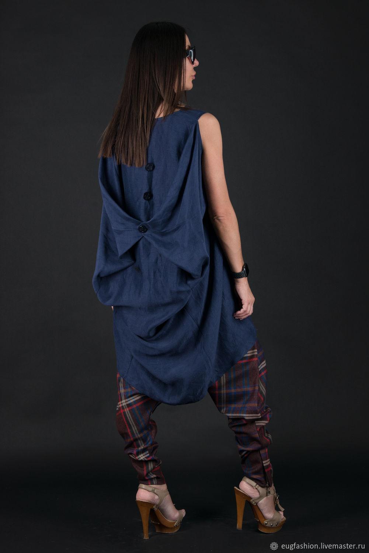 Blue linen tunic with interesting back - TU0501LE, Tunics, Sofia,  Фото №1