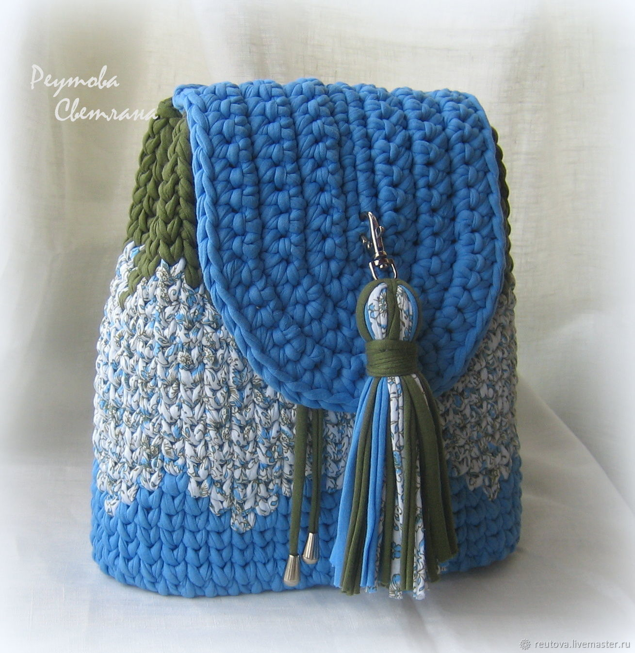 Crochet backpack knitting yarn Summer, Backpacks, Chernogolovka,  Фото №1