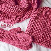 Аксессуары handmade. Livemaster - original item Knitted set Dry Rose, knitted hat, scarf, mittens. Handmade.