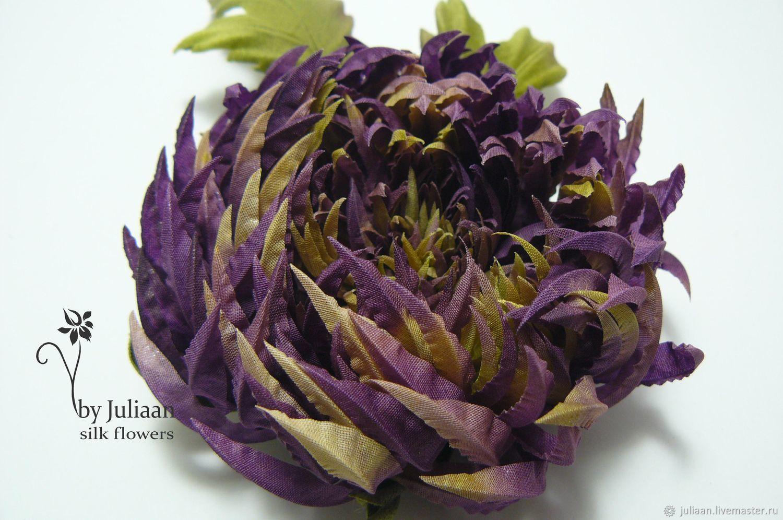35f1d728271 Цветы ручной работы. Ярмарка Мастеров - ручная работа. Купить Цветы из шелка.  Хризантема