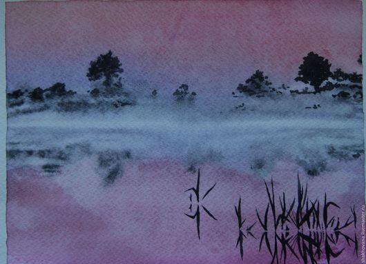 Пейзаж ручной работы. Ярмарка Мастеров - ручная работа. Купить Утро туманное. Handmade. Розовый, акварельный рисунок, река