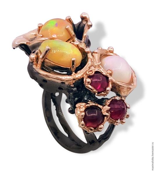 """Кольца ручной работы. Ярмарка Мастеров - ручная работа. Купить Кольцо """"Сад Чудес"""" с опалами, турмалинами и рубином, из серебра. Handmade."""