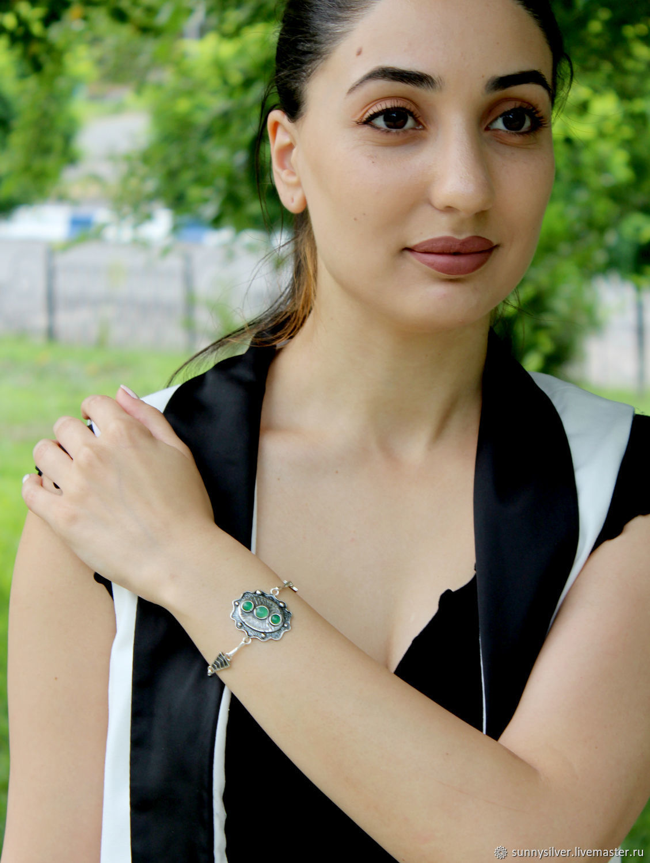 Aben bracelet made of 925 sterling silver with stones GR0007, Chain bracelet, Yerevan,  Фото №1