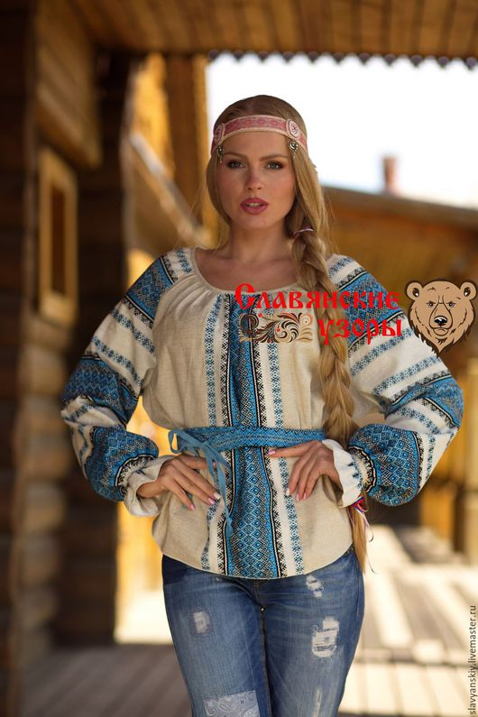 """Одежда ручной работы. Ярмарка Мастеров - ручная работа. Купить Блузка славянская """"Ладушка"""" голубая. Handmade. Голубой, рубаха"""