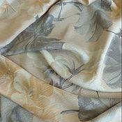 Ткани ручной работы. Ярмарка Мастеров - ручная работа 100% шелк креш Armani Цветочный бежевый белый серый Италия. Handmade.
