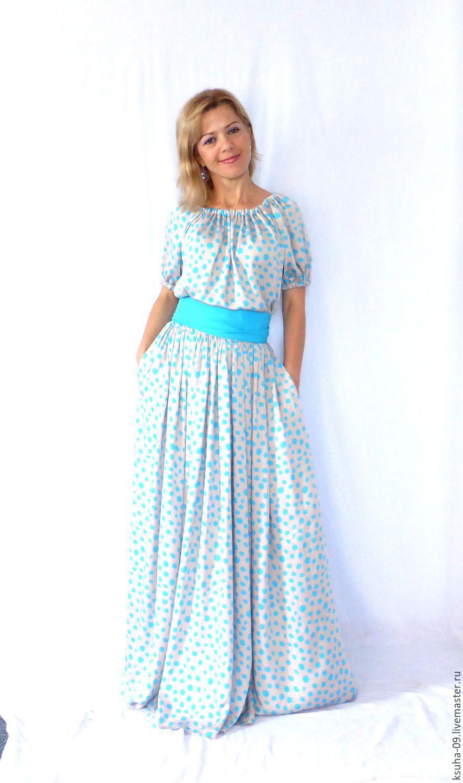 Платья ручной работы. Ярмарка Мастеров - ручная работа. Купить Платье из  штапеля в горошек ... db2b80e8121