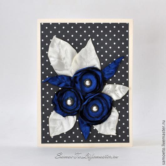 """Открытки на все случаи жизни ручной работы. Ярмарка Мастеров - ручная работа. Купить """"Синие цветы"""" открытка.. Handmade. Тёмно-синий"""
