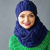 """Аксессуары ручной работы. Ярмарка Мастеров - ручная работа """"Черника"""", комплект вязаный женский, шарф снуд вязаный и шапка вязаная. Handmade."""