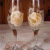 """Свадебный салон ручной работы. Ярмарка Мастеров - ручная работа Свадебные фужеры """"Золото роз"""". Handmade."""