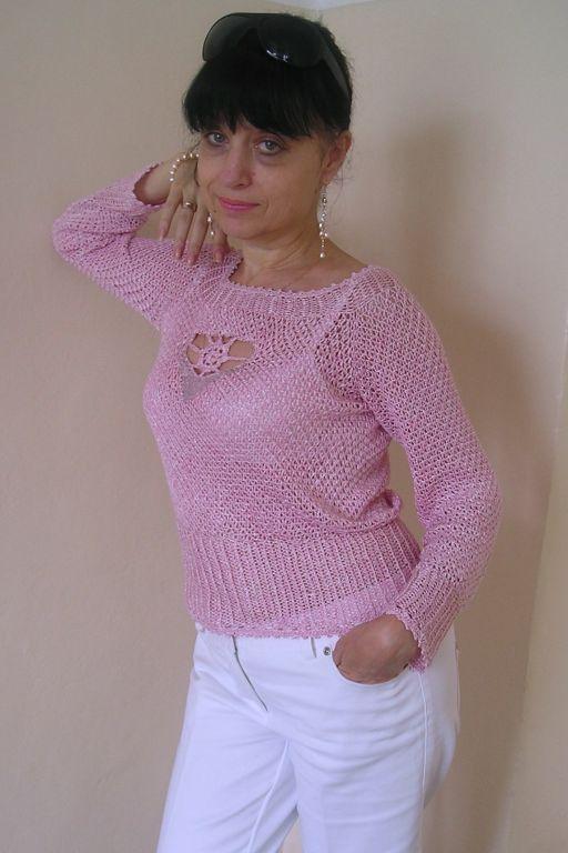 """Кофты и свитера ручной работы. Ярмарка Мастеров - ручная работа. Купить Кофточка """"Розовая жемчужина"""". Handmade. Лён"""