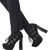Винтаж handmade. Livemaster - original item 38 size! Checkered faux suede ankle boots. Handmade.