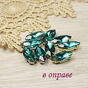 Материалы для творчества handmade. Livemaster - original item Glass rhinestone 15h7 mm Emerald in gold and silver rims. Handmade.