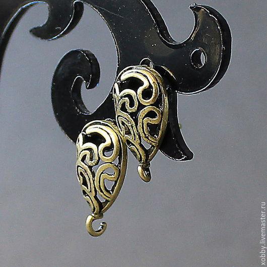 Основа для сережек гвоздиков пуссеты  Основа для гвоздиков Завитушки выполнены из  латуни, с покрытием цвета бронза Используется для создания ваших неповторимых сережек