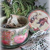 Подарки к праздникам ручной работы. Ярмарка Мастеров - ручная работа Шкатулка с подвеской- коньками Зимние забавы. Handmade.