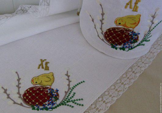 """Подарки на Пасху ручной работы. Ярмарка Мастеров - ручная работа. Купить Набор льняная салфетка и мешочек""""Красное Фаберже со стразами-. Handmade."""