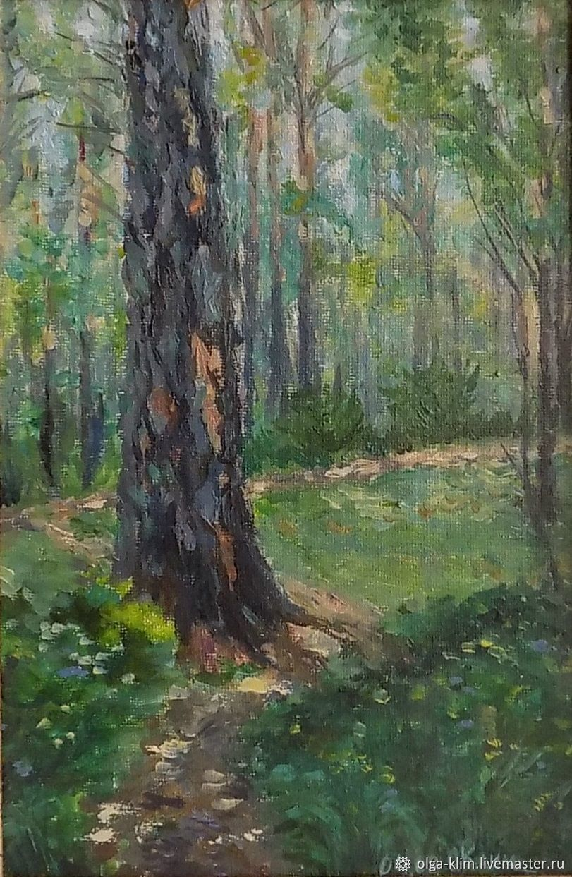 The picture forest path of pine trees nature Landscape summer oil on canvas, Pictures, Ekaterinburg,  Фото №1