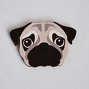 Украшения ручной работы. Ярмарка Мастеров - ручная работа мопс брошь собака значок. Handmade.