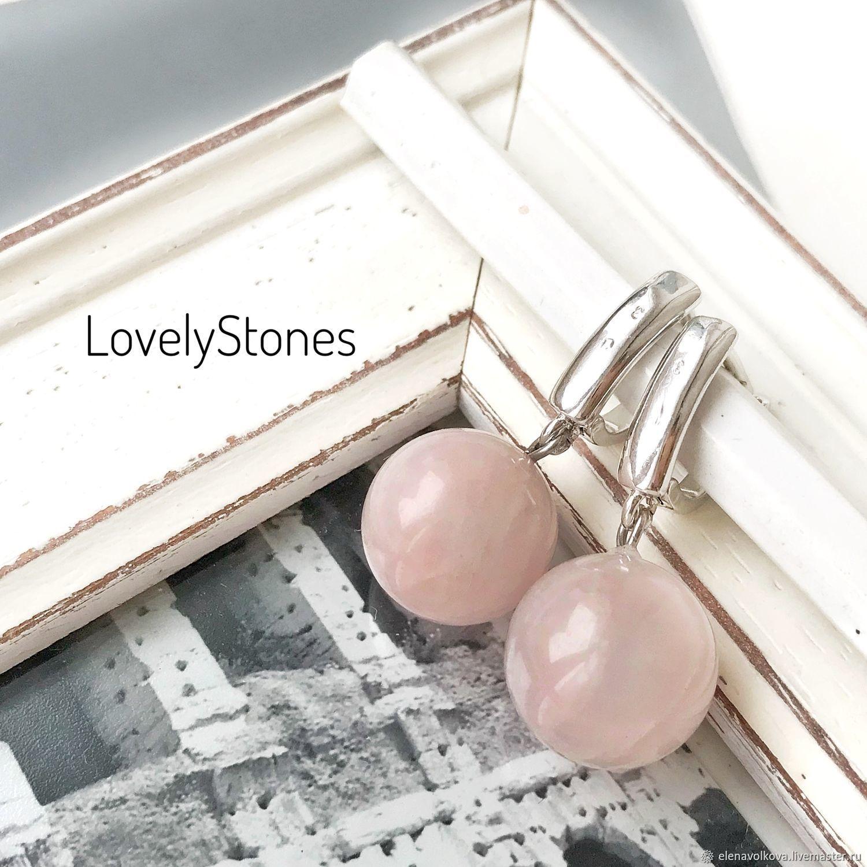 Earrings pink quartz English castle - classic earrings with stones, Earrings, Yaroslavl,  Фото №1