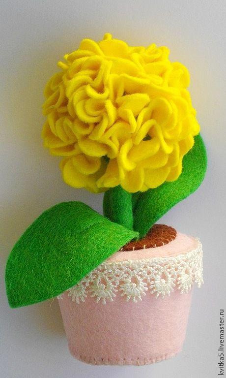 Интерьерные композиции ручной работы. Ярмарка Мастеров - ручная работа. Купить украшение для дома желтая гортензия. Handmade. Желтый, цветок