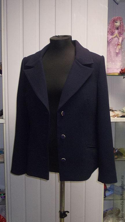 Пиджаки, жакеты ручной работы. Ярмарка Мастеров - ручная работа. Купить Классический пиджак. Handmade. Тёмно-синий, пиджак классический