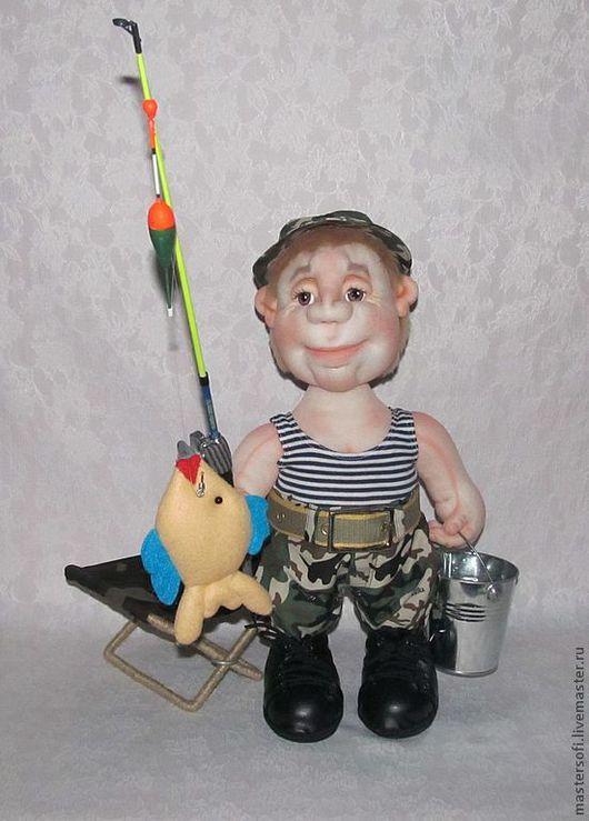 Коллекционные куклы ручной работы. Ярмарка Мастеров - ручная работа. Купить Всё-таки я тебя поймал!!! Кукла рыбак, Скульптурный текстиль.. Handmade.