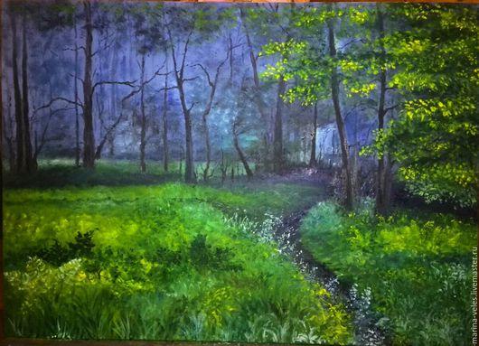 Пейзаж ручной работы. Ярмарка Мастеров - ручная работа. Купить лесной пейзаж. Handmade. Лесной пейзаж, зеленый, лес