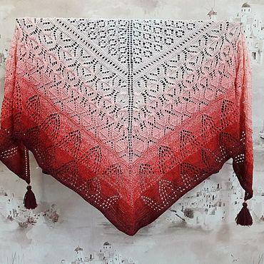 Аксессуары ручной работы. Ярмарка Мастеров - ручная работа Шаль вязанная спицами. Handmade.