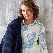 Blouses handmade. Livemaster - original item blouse: Men`s style shirt large size cotton. Handmade.