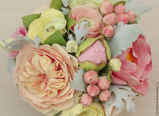 """Букеты ручной работы. Ярмарка Мастеров - ручная работа. Купить Букет """"Winter mood"""" с английскими розами и бархатными листьями цинерар. Handmade."""