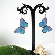 Украшения handmade. Livemaster - original item Butterfly earrings Translucent Blue Butterfly Resin Snow Cold. Handmade.