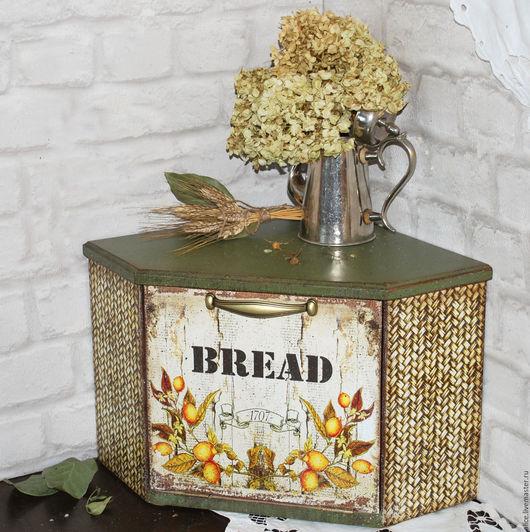 Кухня ручной работы. Ярмарка Мастеров - ручная работа. Купить Хлебница угловая. Handmade. Оливковый, кухонный декор