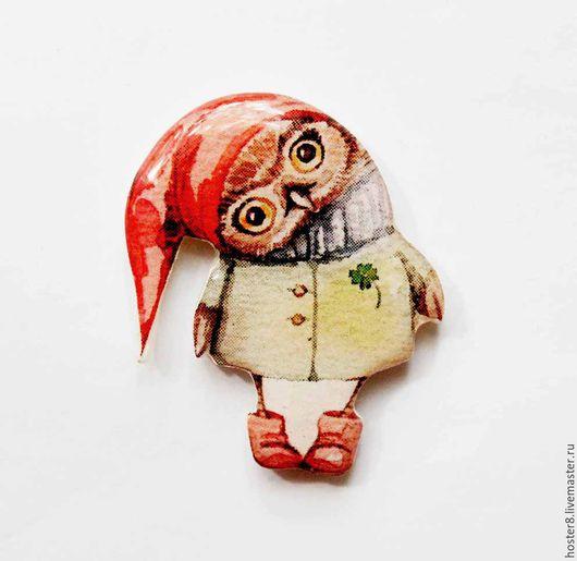 """Броши ручной работы. Ярмарка Мастеров - ручная работа. Купить Брошь """"Совушка гномик"""" (0185). Handmade. Оранжевый, бохо брошь"""