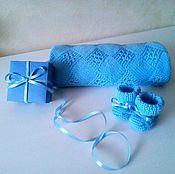 Для дома и интерьера ручной работы. Ярмарка Мастеров - ручная работа Голубой детский плед. Handmade.