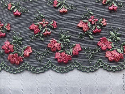 Шитье ручной работы. Ярмарка Мастеров - ручная работа. Купить Кружево на черной сетке с розовыми цветами 19см. Handmade.
