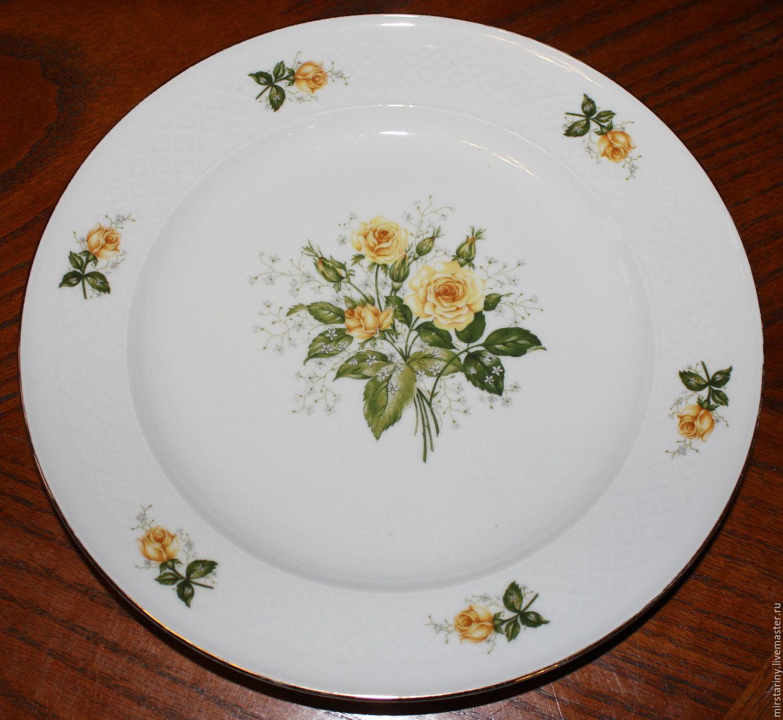 Винтажные предметы интерьера. Ярмарка Мастеров - ручная работа. Купить Винтаж: Красивая, старинная, тарелка с жёлтыми розами, Seltmann Weiden, Герм. Handmade.