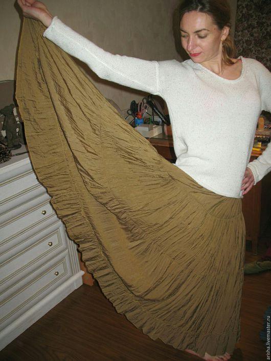 Юбки ручной работы. Ярмарка Мастеров - ручная работа. Купить распродажа юбка  с краш-эффектом оливка. Handmade. Юбка длинная