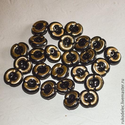 Шитье ручной работы. Ярмарка Мастеров - ручная работа. Купить Пуговицы черные с золотом12 мм. Handmade. Черный, пуговица