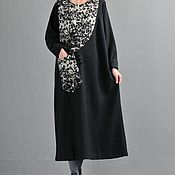 Одежда handmade. Livemaster - original item Black long sleeve wool dress. Handmade.