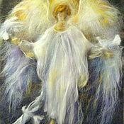 Картины и панно ручной работы. Ярмарка Мастеров - ручная работа Картина из шерсти Ангел-хранитель. Handmade.