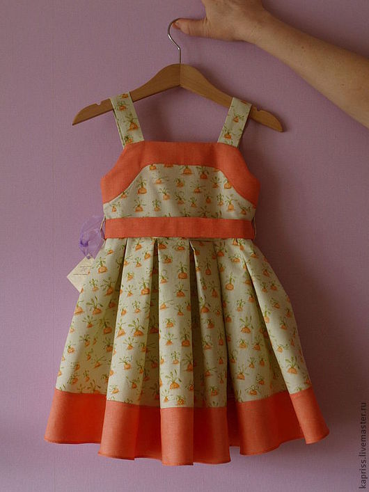 """Одежда для девочек, ручной работы. Ярмарка Мастеров - ручная работа. Купить Детское платье """"Моя морковочка!)"""". Handmade. Рыжий"""
