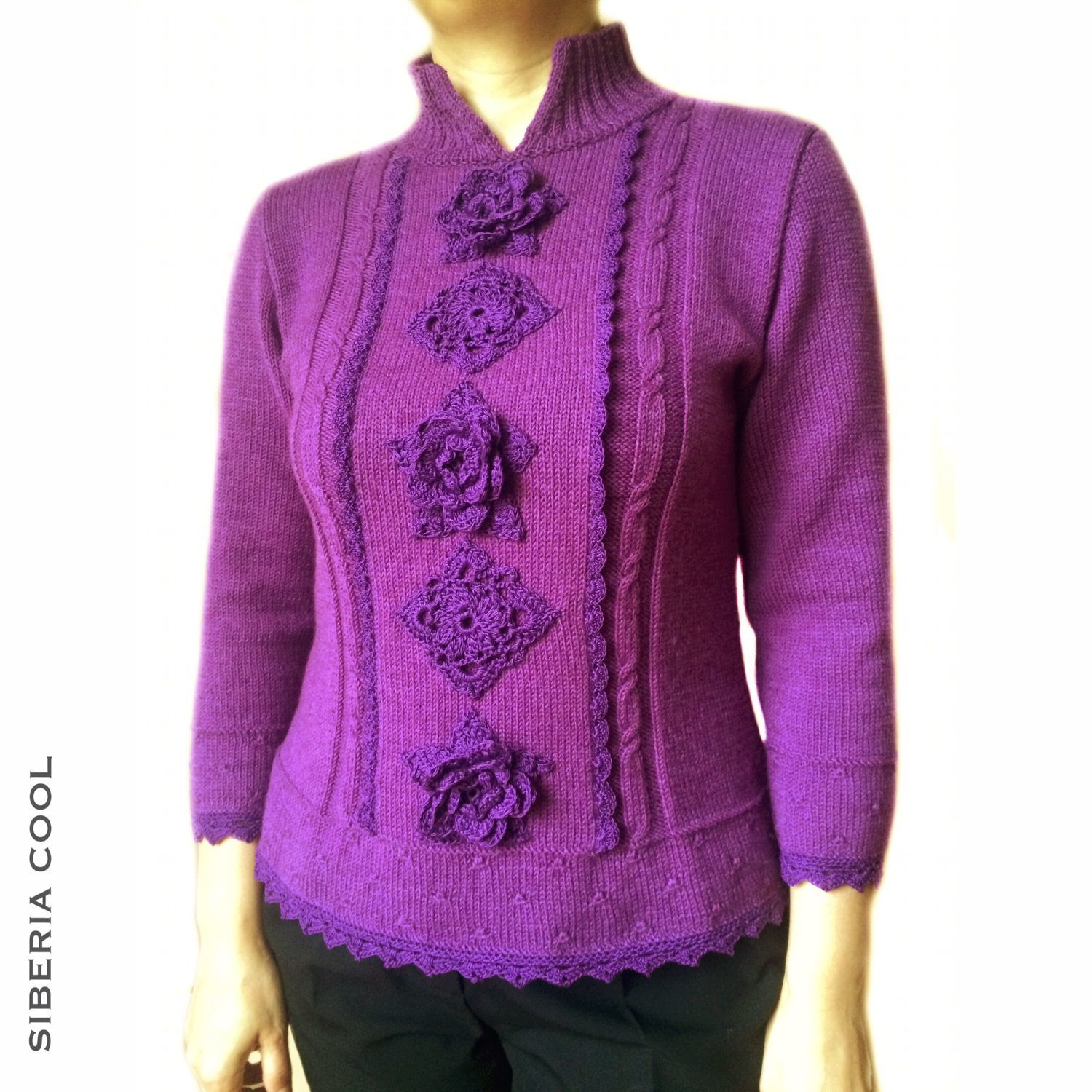 Sweater female Orchid, knitted, flowers, Merino wool, Sweaters, Voronezh,  Фото №1