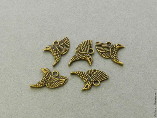 Подвеска Птичка 22*17 мм цвет Античная бронза, отверстие  ок. 2 мм, материал - сплав металлов, не содержит свинца и никеля  (арт. 1771)