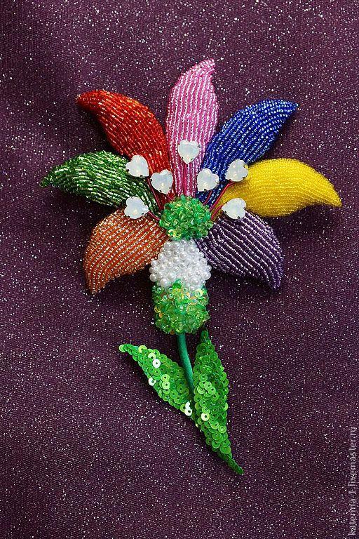 Броши ручной работы. Ярмарка Мастеров - ручная работа. Купить Цветик - Семицветик вышивка для Аллы. Handmade. Цветик семицветик, зеленый
