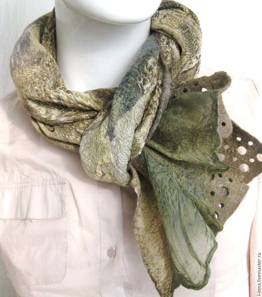 Шарфы и шарфики ручной работы. Ярмарка Мастеров - ручная работа. Купить Кружевная змейка    шарф  валяный  оригинальный. Handmade.