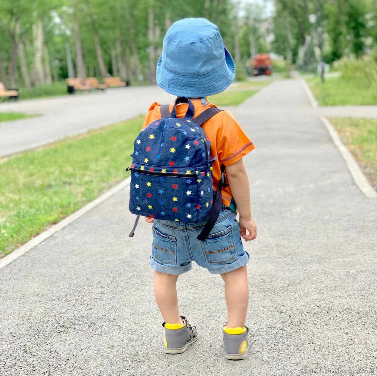 Детский рюкзак из денима Звезды, размер S, Сумки, Магнитогорск, Фото №1